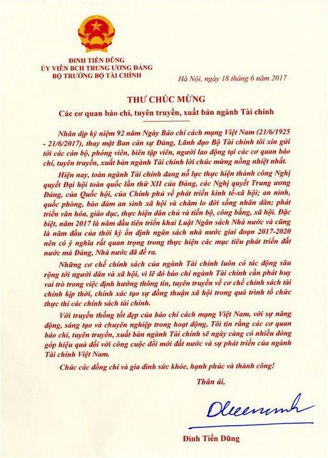 Bo truong Dinh Tien Dung gui thu chuc mung bao chi nganh Tai chinh - Anh 1