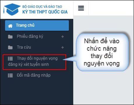 Huong dan thao tac thay doi nguyen vong xet tuyen dai hoc tren online - Anh 1