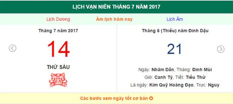 Am lich hom nay (21.6, tuc 14.7 duong lich): Gio hoang dao ngay hom nay? - Anh 1