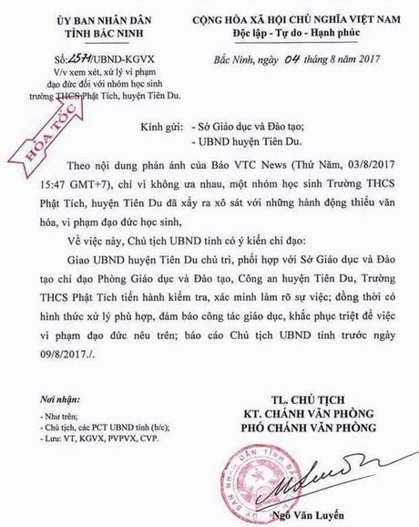 Nu sinh giat toc dam da, bat ban quy goi xin loi gay phan no: UBND tinh Bac Ninh chi dao khan - Anh 1
