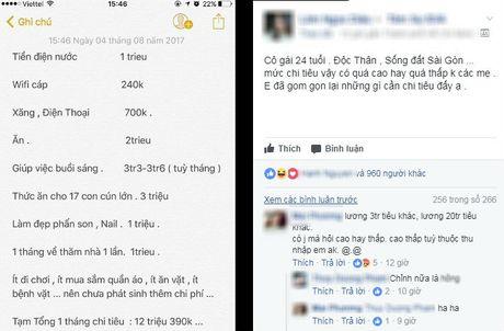 Bang chi tieu gay nhieu tranh cai cua co nang doc than 24 tuoi: Giup viec buoi sang het 3,6 trieu/thang - Anh 1