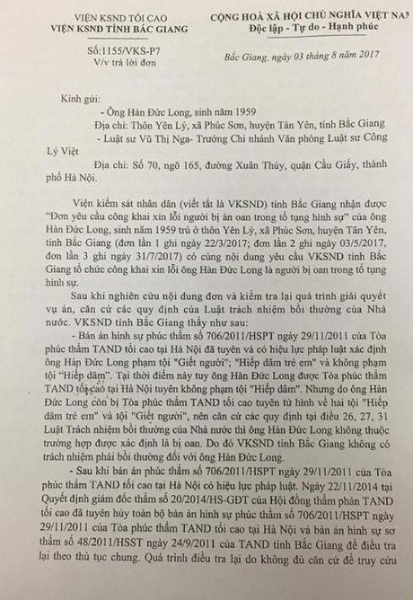 VKSND tinh Bac Giang tu choi xin loi, boi thuong ong Han Duc Long - Anh 1
