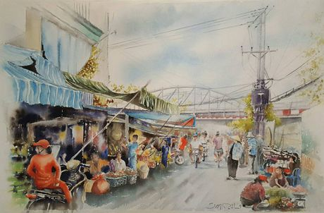 Hoa si Phap trien lam tranh ve Viet Nam tai bao tang que nha - Anh 10
