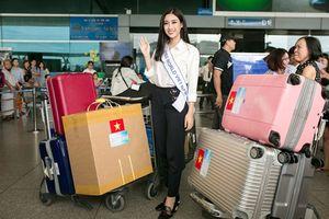 Đỗ Mỹ Linh mang 10 vali hành lý đến Trung Quốc thi Miss World 2017