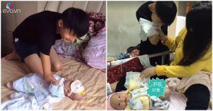 Cụt 2 tay, ông bố trẻ vẫn khiến triệu người cảm phục vì quá thạo việc chăm vợ con