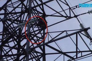 Nghi ngáo đá, người đàn ông trèo trụ điện cao thế cao gần 50m la hét