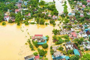 Cận cảnh mưa lũ nhấn chìm nhà dân ở Ninh Bình