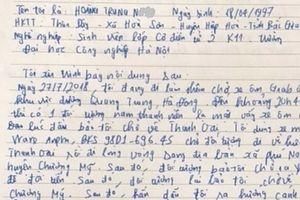 Lái xe ôm Grab viết thư cảm ơn khi được trả lại chiếc xe bị cướp