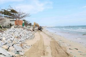 Xử lý tình trạng xâm thực gây sạt lở bờ biển ở Ninh Thuận