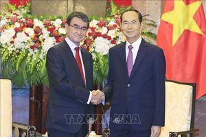 Chủ tịch nước Trần Đại Quang tiếp Bộ trưởng Ngoại giao Nhật Bản