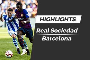 Highlights Real Sociedad - Barcelona: Cú đúp phạt góc