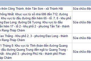 Thông báo: Lịch cắt điện Ninh Thuận từ ngày 18/09/2018 - 23/09/2018