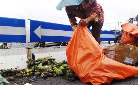 Nguoi dan giup tai xe container gom 20 tan hoa qua do ra duong - Anh 6